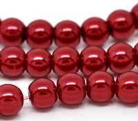 5 Strands dark Red Round Glass Pearl 6mm Beads 32 (B11375)