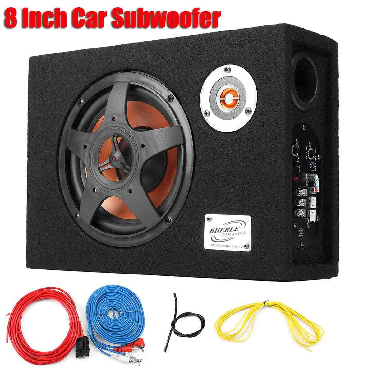 8 Inch 480w Car Subwoofer 12V Slim Under-Seat Speaker Car Audio Subwoofer Car High Power Amplifier Speaker Super Bass Speaker