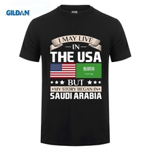 GILDAN May Live in USA Story Began Saudi Arabia Flag T-Shirt