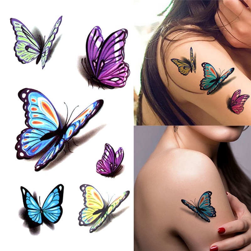 NEW Women's 3D Temporary Tattoo Sticker Waterproof Body Decals Fake Tatoo Art Taty Butterfly Pattern Tattoo Sticker