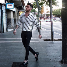 Fashion Men Slim Fit V-Neck Long Sleeve Muscle Shirt Casual Tops Trendy Vertical