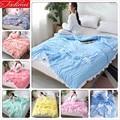 Синее тонкое одеяло  высококачественное мягкое покрывало из промытого хлопка 150*200 180*220 200*230  покрывало для кровати  одеяла 1 35 м 1 5 м 1 8 м