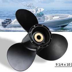 Fuera de borda de la hélice 58100-93733-019 para Suzuki 8-20HP 9 1/4x10 Barco de aleación de aluminio negro de 3 hojas 10 Spline dientes R rotación