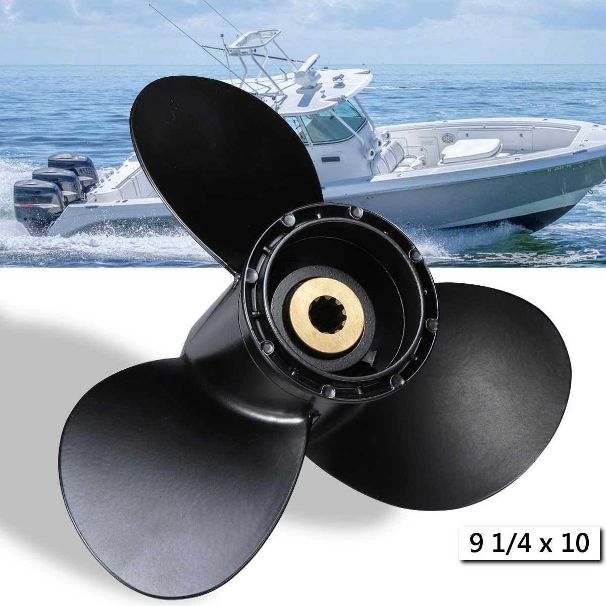 Outboard Propeller 58100-93733-019 For Suzuki 8-20HP 9 1/4 X 10 Boat Aluminum Alloy Black 3 Blades 10 Spline Tooths R Rotation
