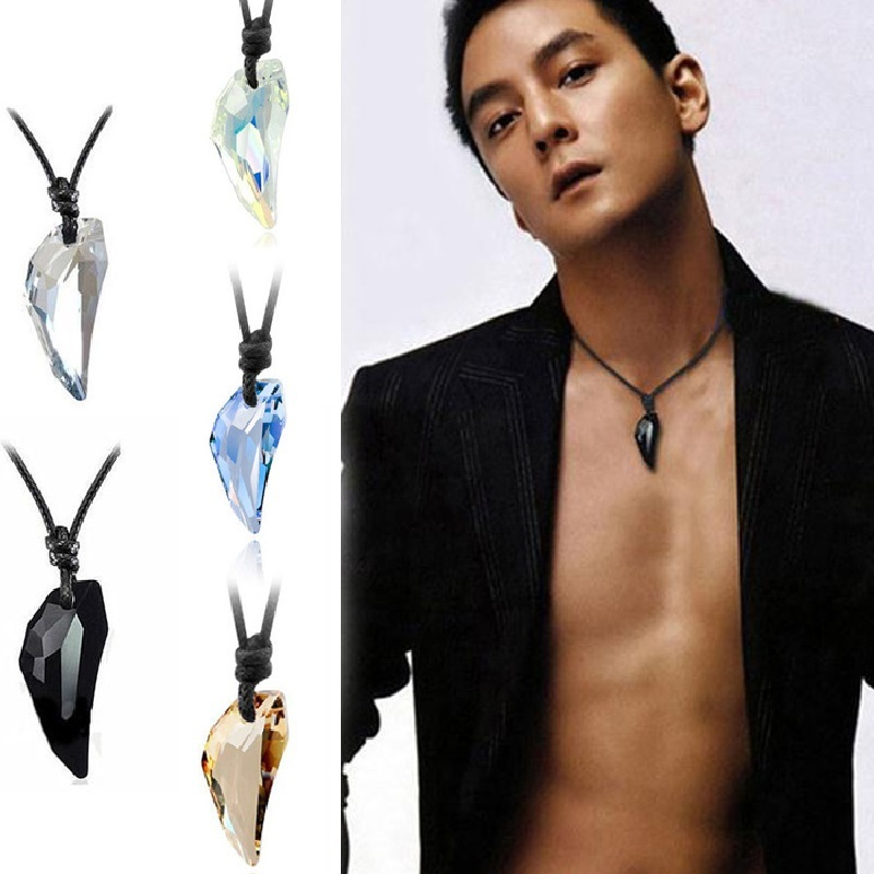 Fashion Wolf Tooth Austria Big Crystal Necklace With Element Wolf Tooth Pendant Necklace For Men Jewelry Gift