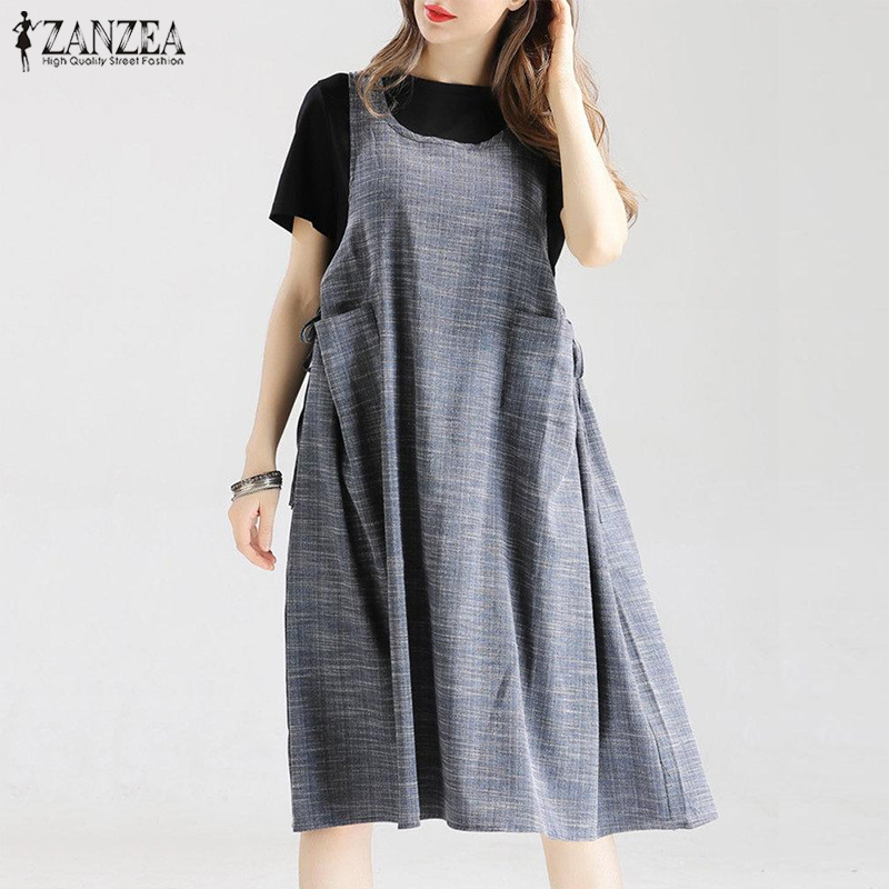 Vintage Overalls Dress ZANZEA Women Sundress Summer Sleeveless Boho Tanks Vestido Casual Sarafans Robe Tunic Solid Femme Dress