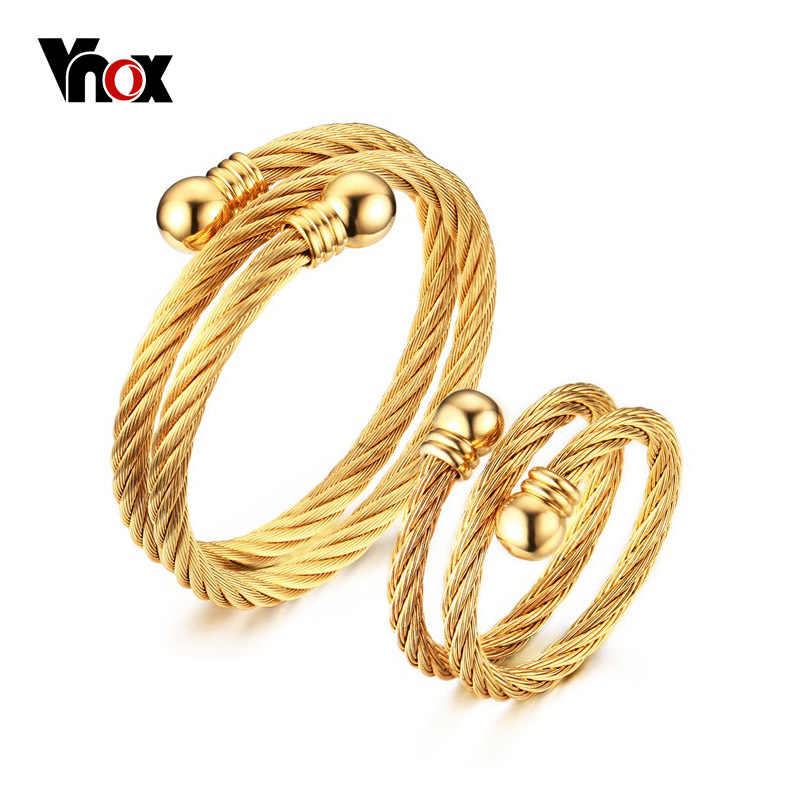Vnox Unique Adjustable Jewelry Sets for Women Twisted Cable Cuff Bangle Bracelet and Ring Set