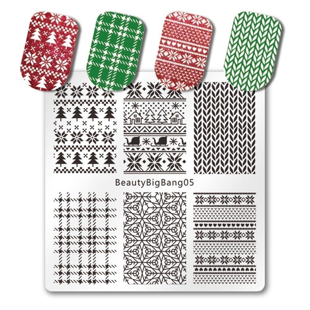 Nails Art & Werkzeuge 1 Stück Beautybigbang Weihnachten Nagel Nailart-vorlagen Platte Weihnachten Winter Tartan Gestrickte Muster Für Maniküre Angenehm Zu Schmecken