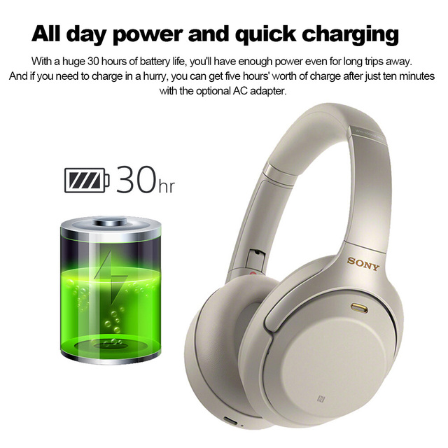 SONY WH-1000XM3 Wireless Bluetooth Headphones Over-Head Headset Noise-Canceling NFC Function Touch Panel Handsfree Call