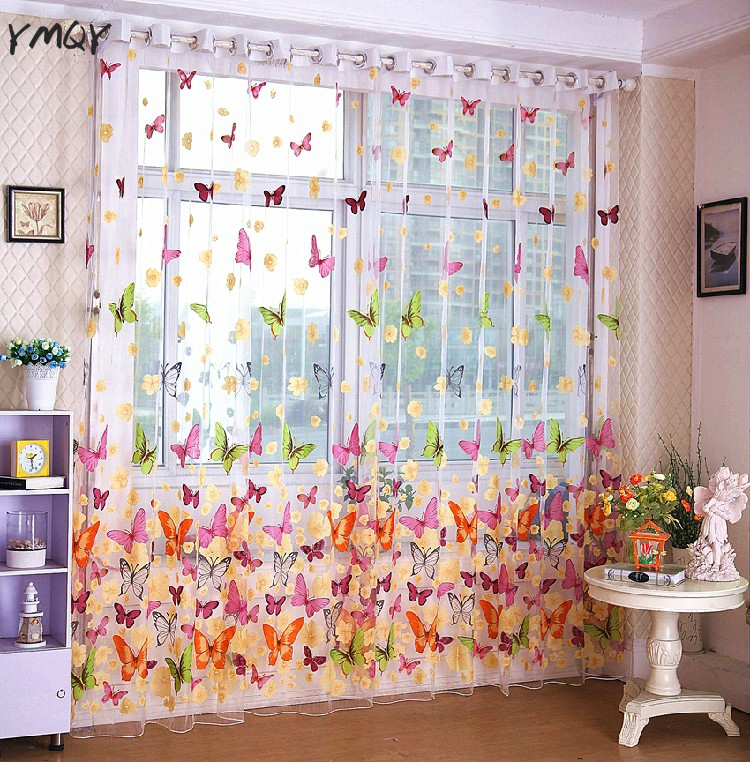 Butterfly Curtain For Living Room Home Decor Wholesale Romantic Bedroom Cheap Ready Made Finished Organza Child Window Curtain