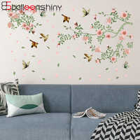 BalleenShiny Colorful Flowers Birds Plane Wall Sticker New DIY Pink Petals Romantic Living Bedroom Mural Decals Hotel Poster