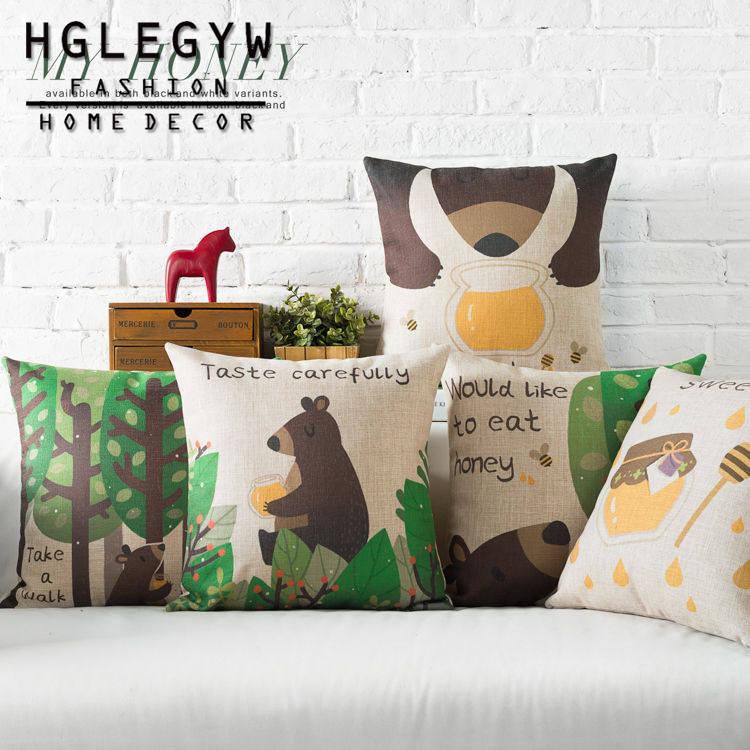"""18/"""" Brown Bear Doll Cotton Linen Pillow Case Sofa Throw Cushion Cover Home Decor"""