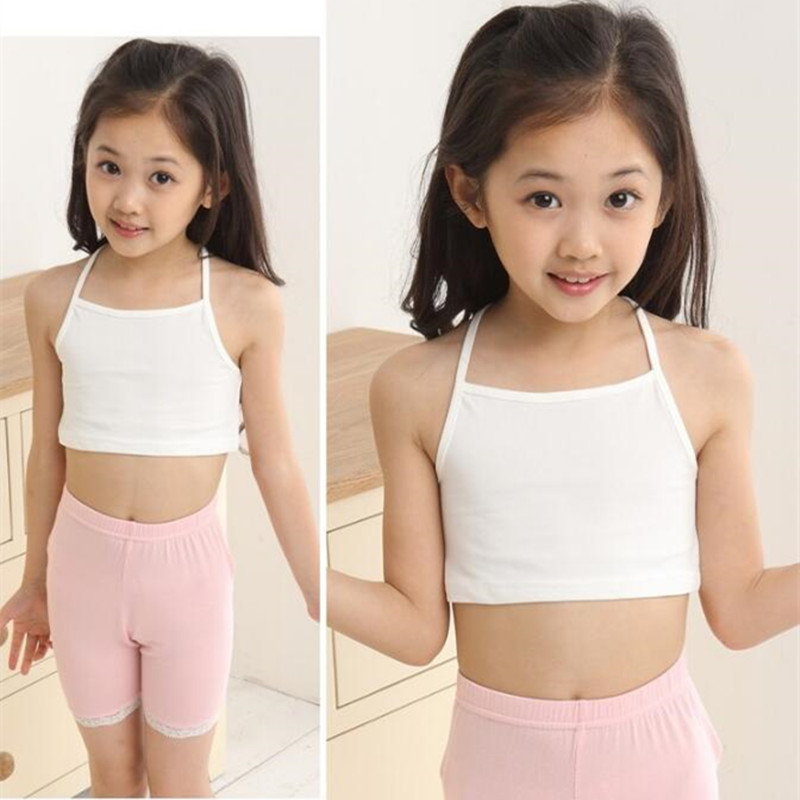 Girls Cotton Bra Camisole Vest Child World Of Tank Girls Underwear Candy Color Girls Short Tank Tops Kids Clothing Models image
