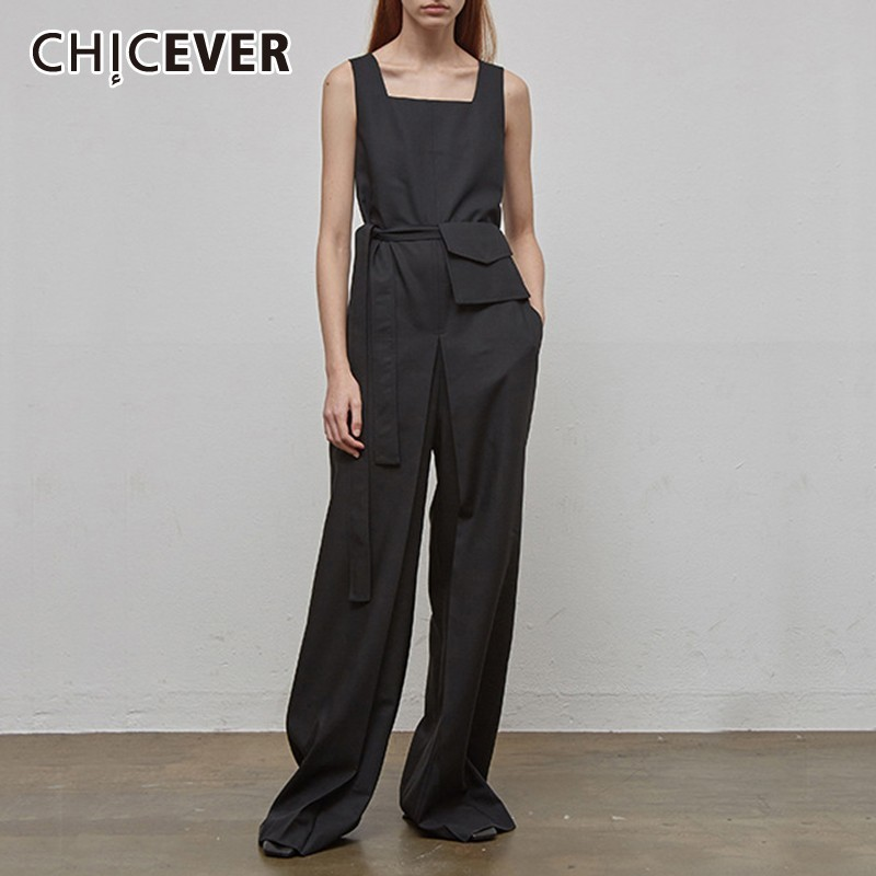 CHICEVER Vintage Solid Women Jumpsuit Sleeveless High Waist Lace Up Sashes Pockets Loose Wide Leg Pants