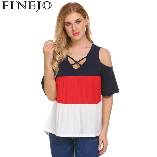 b1ca6a340420 Women T Shirt Summer Fashion V-Neck Cold Shoulder Hollow Out Half Sleeve  Patchwork Casual Loose T Shirt Tops Tee