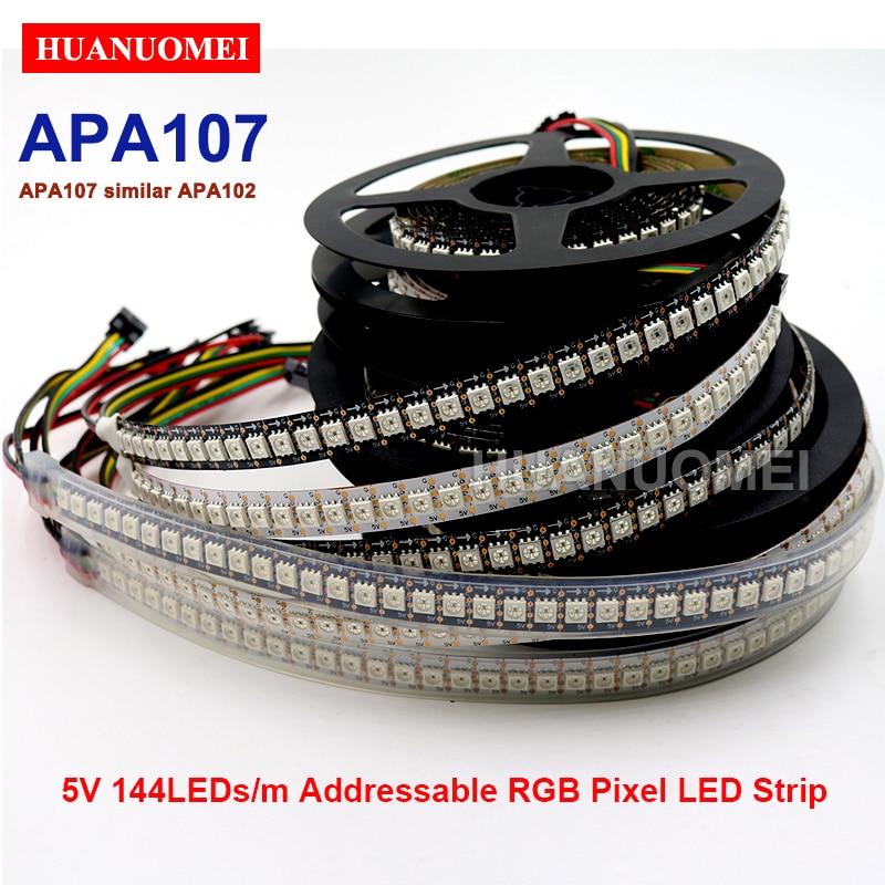 5 V APA107 (similaire APA102) 144 LED s/m 5050 SMD intelligent Pixel individuel adressable LED lumière de bande, blanc/noir PCB, IP20/IP65/IP67