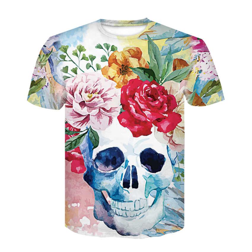 Цветная 3D футболка с черепом мужские футболки летняя футболка