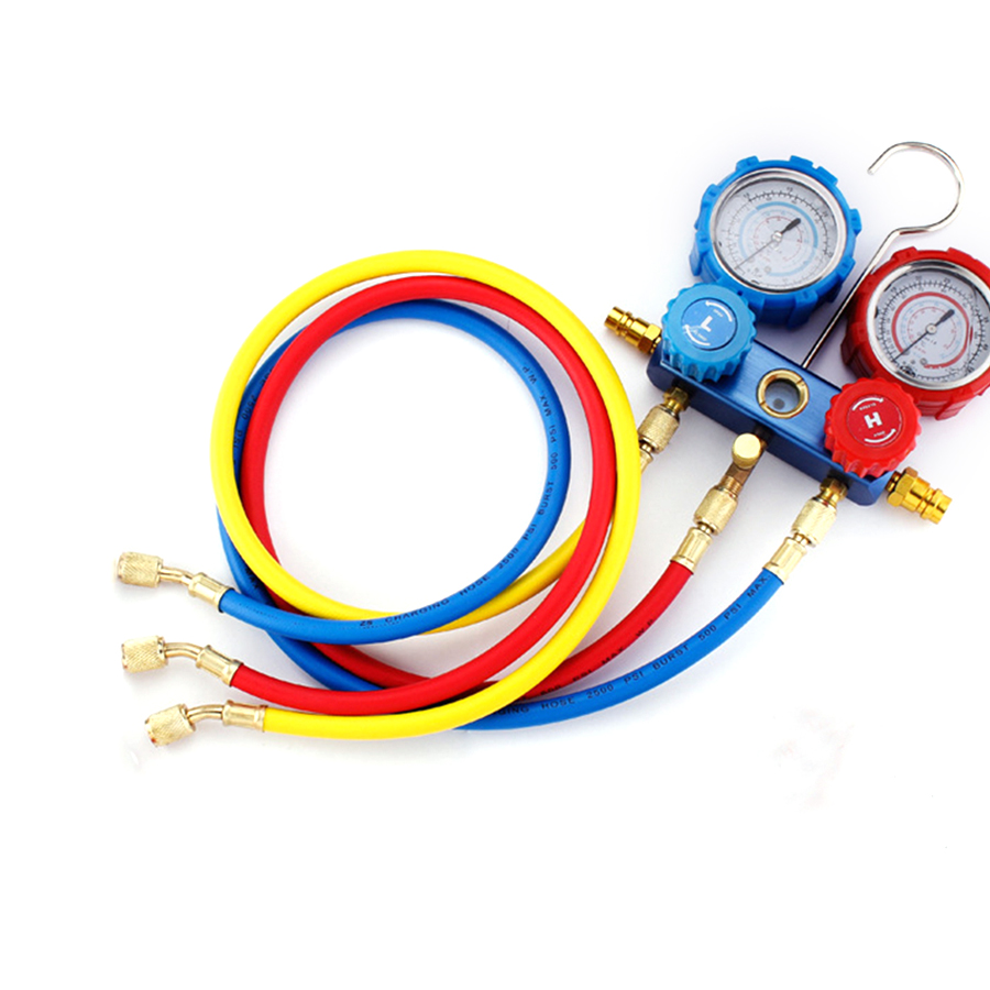 Vehicle Air Conditioning Meter Pressure Gauge Refrigerant Double Meter Valve Fluid Pressure R134A Valves & Parts     - title=