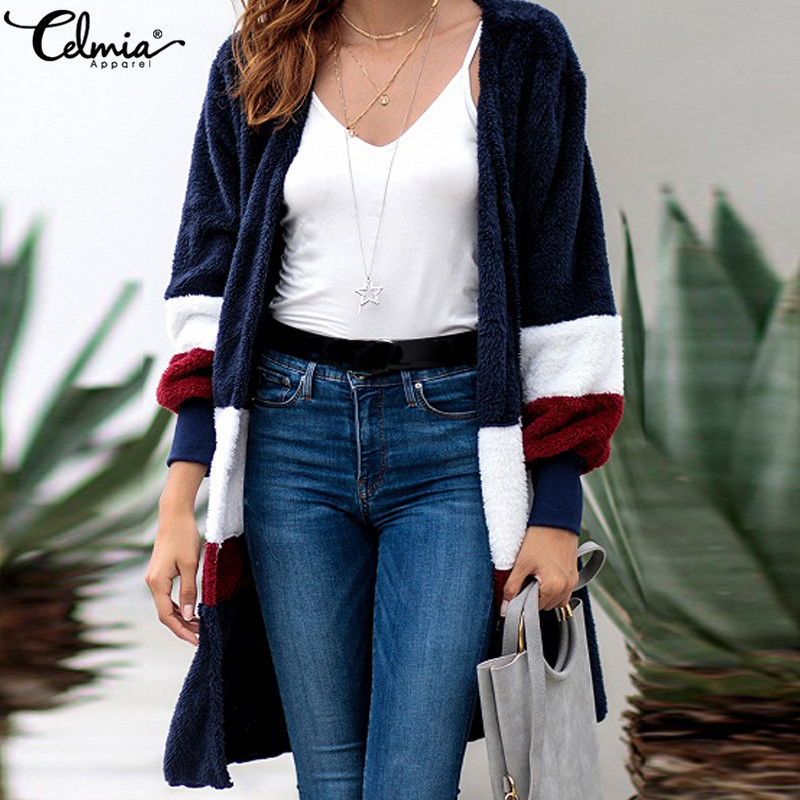 Plus Size Celmia Women Faux Fur Jacket 2018 Winter Warm Coat Ladies Long Sleeve Patchwork Outwear Pockets Casual Long Cardigan