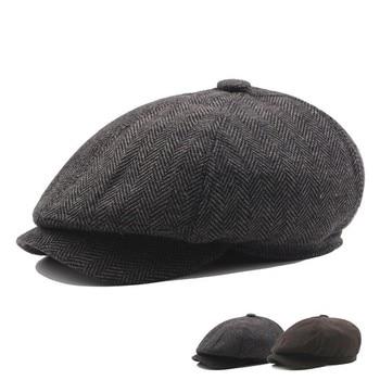 109b22b740e04 Moda rayas octogonal sombreros de hombre Otoño e Invierno adulto sombreros  plegable ala sombrero boina adelante jóvenes mujer pintor sombrero