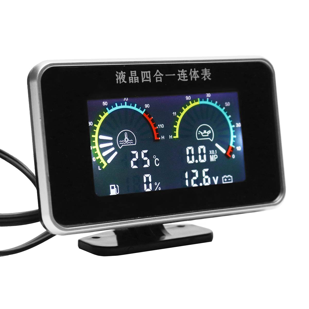 Auto Replacement Parts 12V 24V 4in1 LCD Car Digital Gauge Oil Voltage Pressure Fuel Water Temp Meter M10
