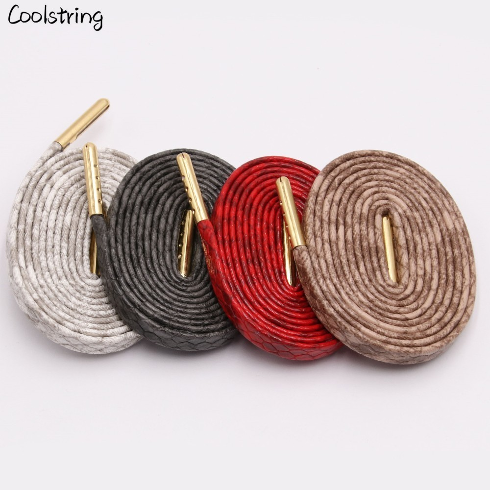 Coolstring Flat Snakeskin Shoe Laces White Red Grey Brown Luxury Leather LE ShoeLaces With Gold Metal Aglets For Sneakers Sports