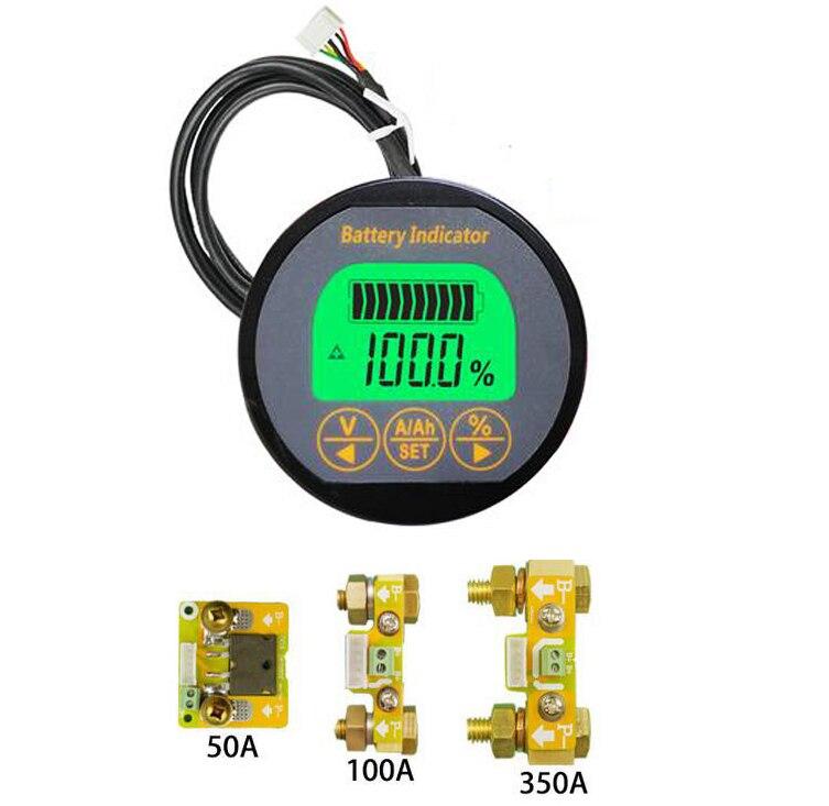 Moniteur de batterie 50A 100A 350A Coulomb indicateur de capacité détecteur de courant de tension voiture ebike Li-ion UPS Lithium plomb-acide