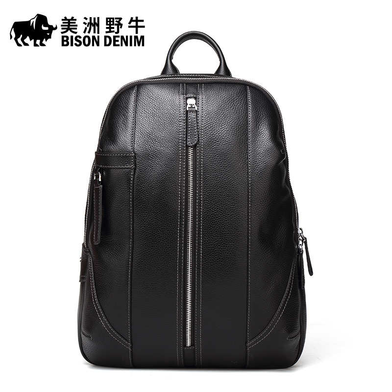 Brand BISON DENIM Genuine Leather School Bags For Teenagers Backpack N New Men Travel Casual Cowhide Laptop Backpack Free Ship