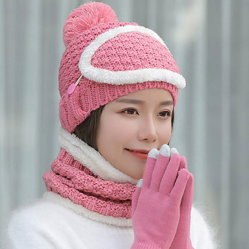 1Pc Acrylic Fabric Winter Hats For Women Girl 'S Hat Knitted   Beanies   Cap Cashmere Collar Mask Set Women'S   Skullies     Beanies
