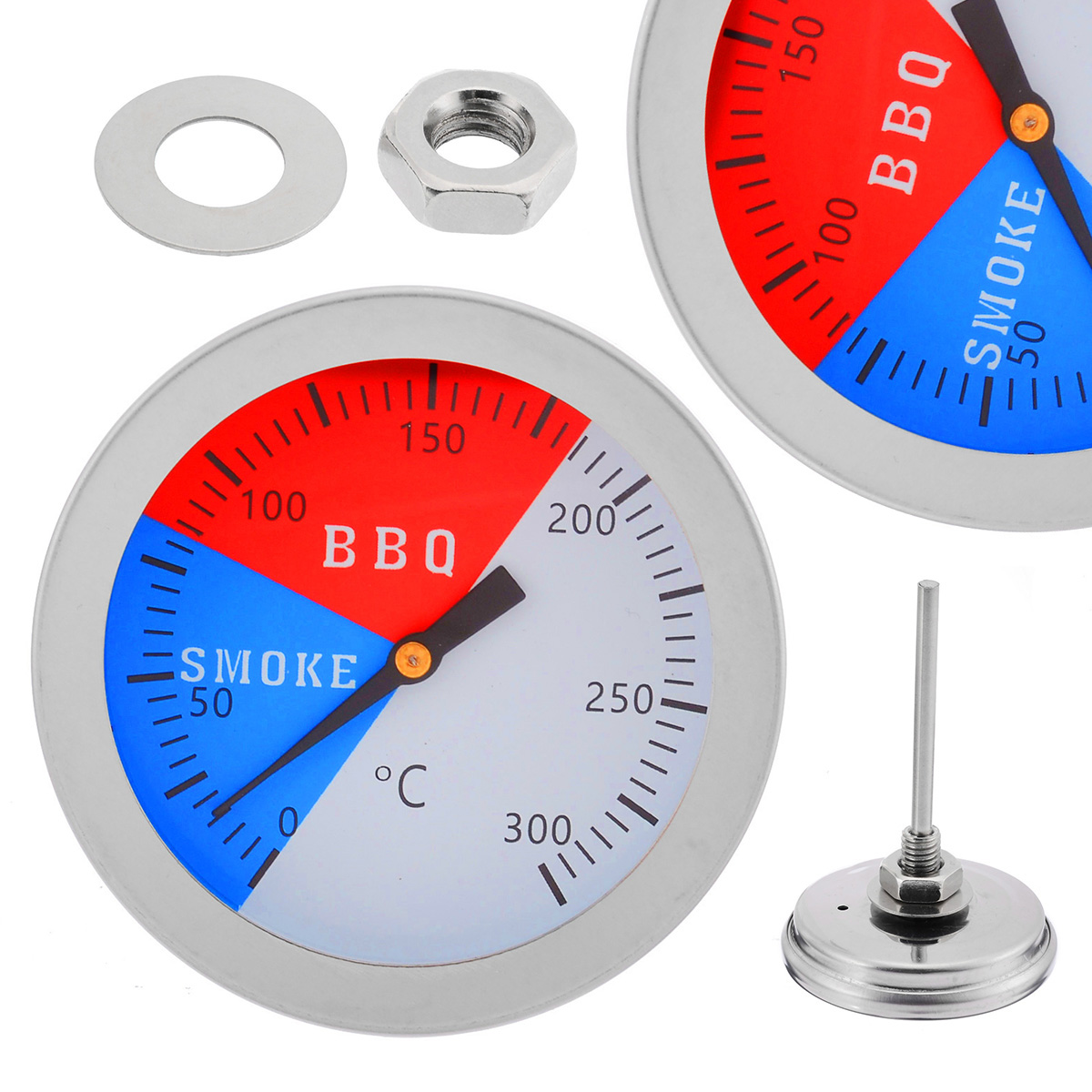 Stainless Steel Thermometer BBQ Smoker Grill Thermometers 300 Degrees Temperature Gauge Mayitr Barbecue Thermometer(China)