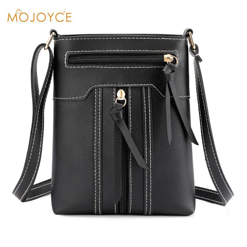 Vintage Women Solid Color Shoulder Messenger Handbags PU Leather Satchel Double Zipper Crossbody Bags 2019 Bolso femenino