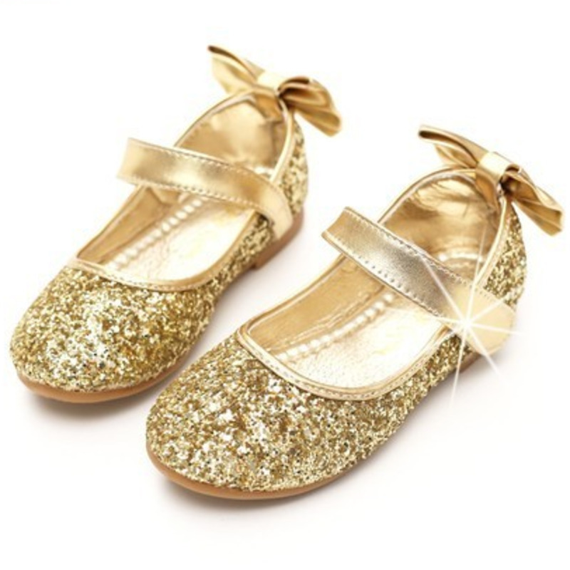Toddler Girls Gold Silver Glitter Sparkle Party Ballerina Flats Little Kid Sequin Bling Mary Jane Show Princess Dress Shoes