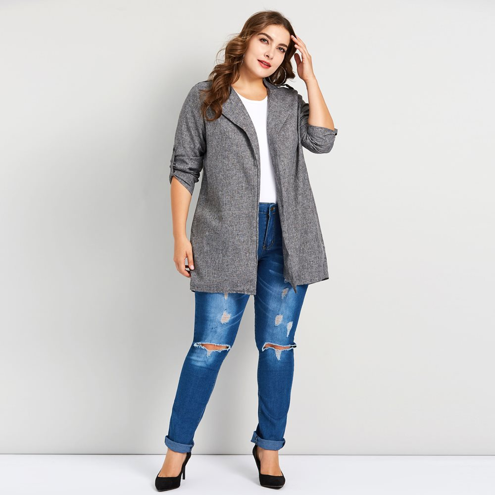 Plusee Plus Size Women   Trench   Coat 5XL Spring New Simple England Style Long Outerwear Slim Office Ladies Fashion Casual Overcoat