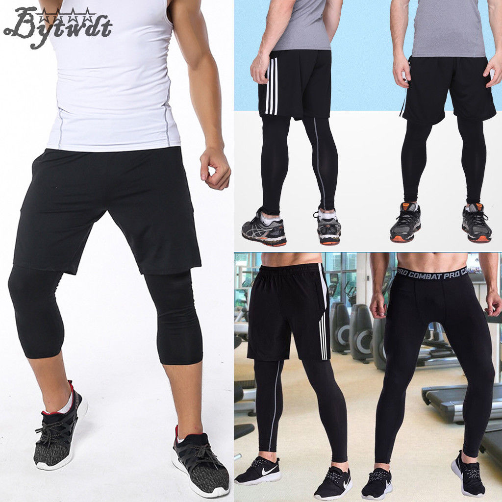 Men Compression Fitness Tights Base Layer Cropped Sports Running Pants