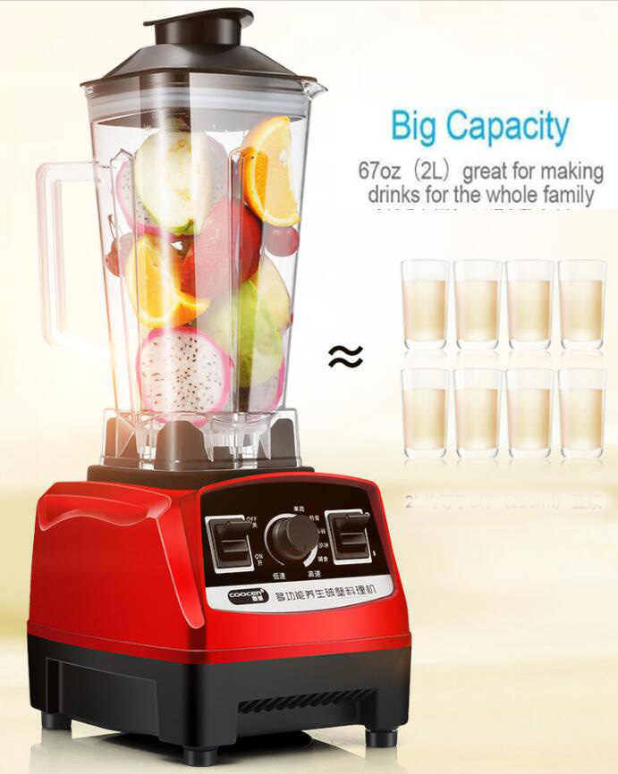 BPA Livre 2200W Pesados da Classe Comercial Misturador Liquidificador Processador de Alimentos Espremedor De Alta Potência Barra de Frutas Liquidificador Smoothie de Gelo