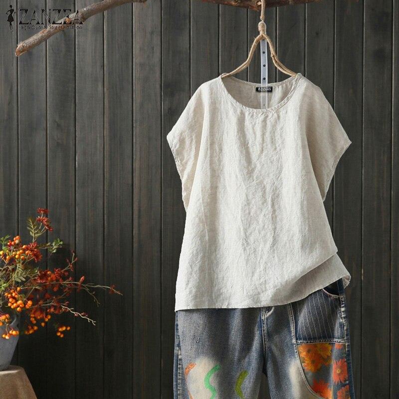 ZANZEA 2020 Summer Linen Shirts WomenVintage Short Sleeve Blouse Female O Neck Split Blusas Tunic Tops Plus Size Shirt