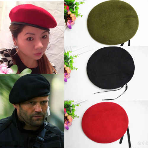 Winter New Unisex Military Army Soldier Hat Wool Beret Men Women Uniform  Adjustable Cap 7ada1e8f57
