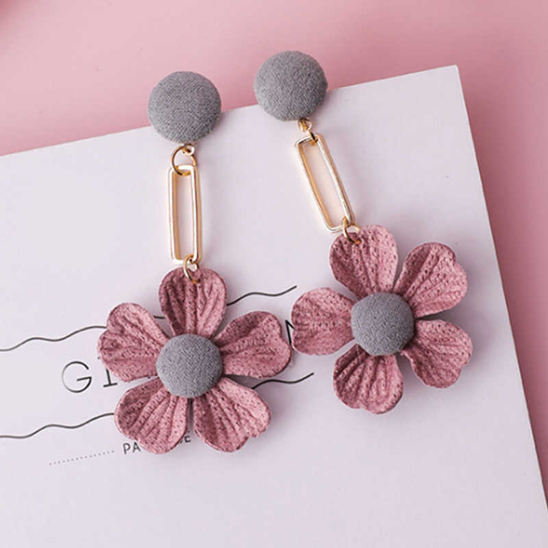 Pearl Korean Fashion Jewelry Wedding Cute Crystal Fabric Flower Dissymmetry 1Pair Drop Earring Venonat Pink Simple Long Tassel