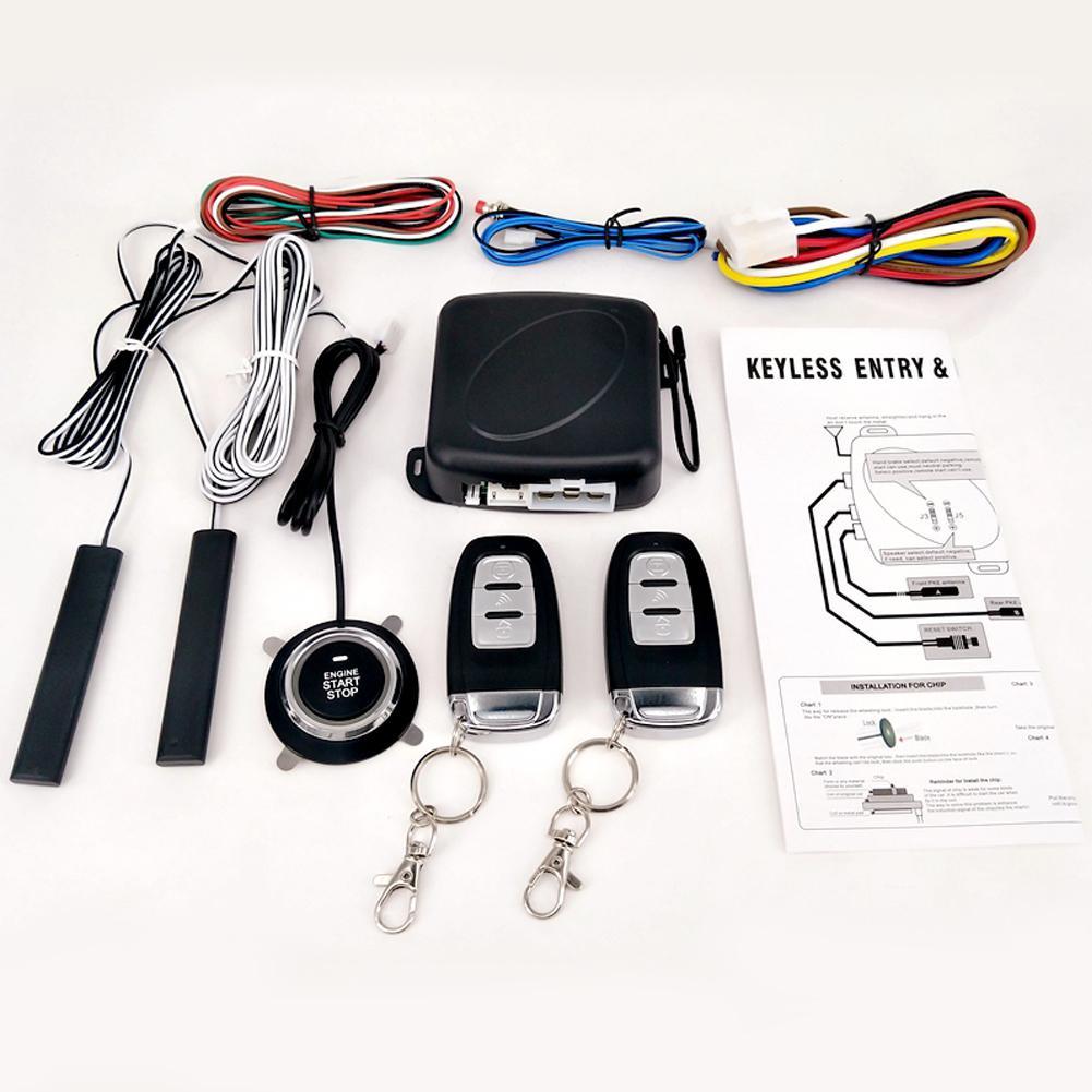 9Pcs Set Car Keyless Entry Engine Start Alarm System Push Button Remote Starter Central Kit Auto