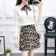 autumn women suit nail bead bow knitting pullover sweater & leopard print skirts two-piece outfit knitwear girl vestido top set