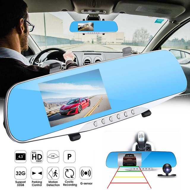 Autoleader 4.3 Inch Dual Lens Car DVR Camera Blue Rearview Mirror Night Vision