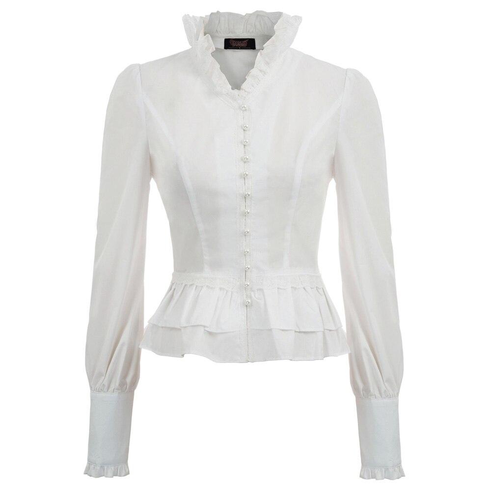 3371b9b151b647b Новые винтажные рубашка осень Для женщин Викторианской стимпанк в  готическом стиле с длинным рукавом и стоячим воротником планка на пугови.