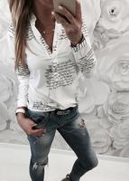 Hot women summer fashion printed letter button long sleeved t shirt camisetas verano mujer 2019 korean summer tshirt