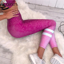 Sexy Hip Up Women Active Yoga Sport Leggings High Waist Gradient Pink Leopard Mujer Pants Fitness Running Femme Trouser