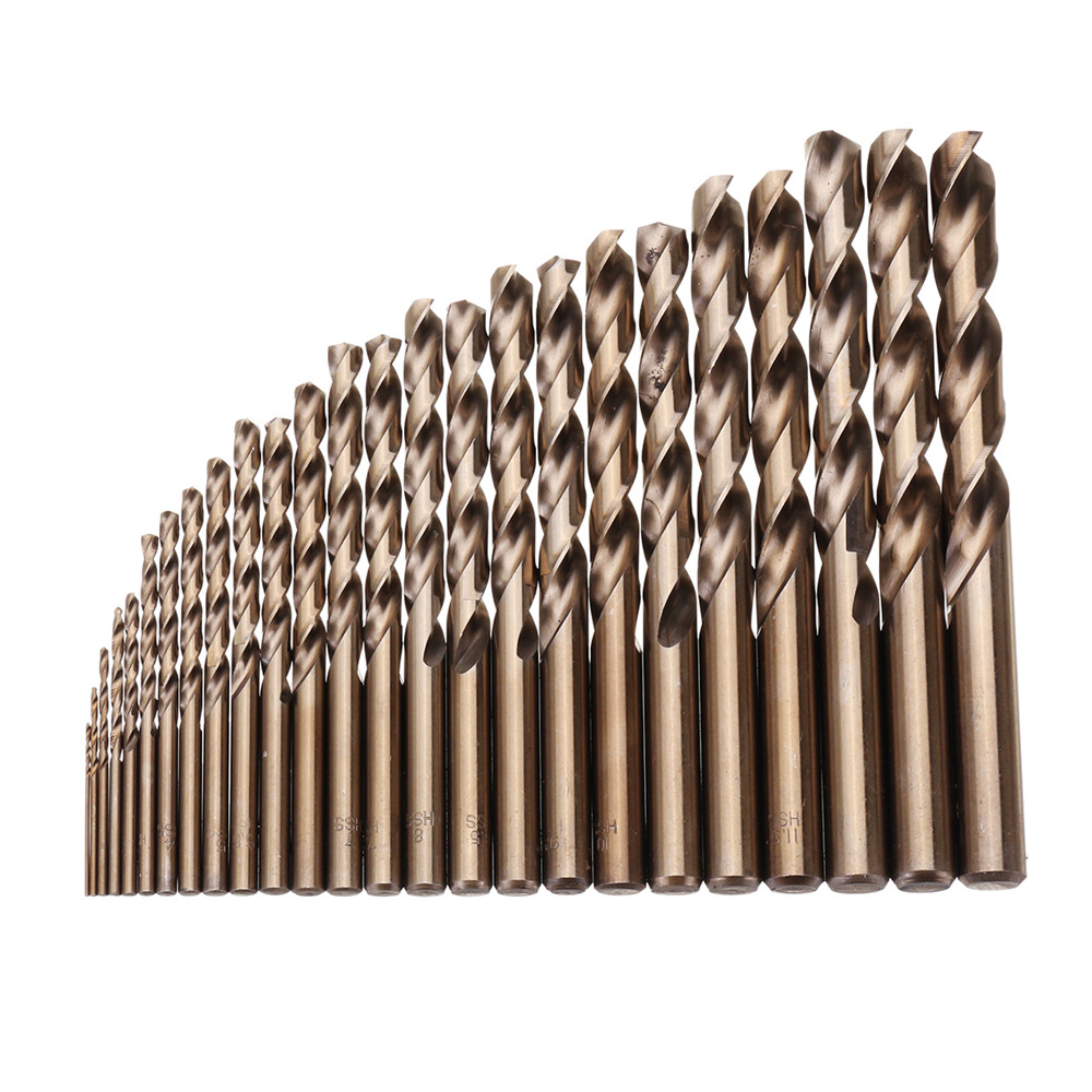 25pcs 1-13mm HSS M35 Cobalt Twist Drill Bit Set For Metal Wood Drilling