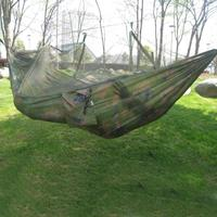 Portable Outdoor Camping Hammock with Mosquito Net 1 2 Adult High Strength Parachute Fabric Hanging Bed Hunting Sleeping Swing|Hammocks| |  -