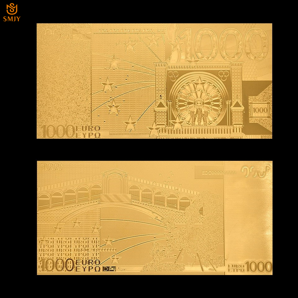 24k European Gold <font><b>Banknote</b></font> <font><b>1000</b></font> <font><b>Euro</b></font> Gold Foil <font><b>Banknote</b></font> Value Replica Uncirculated World Currency Paper Money Collection image