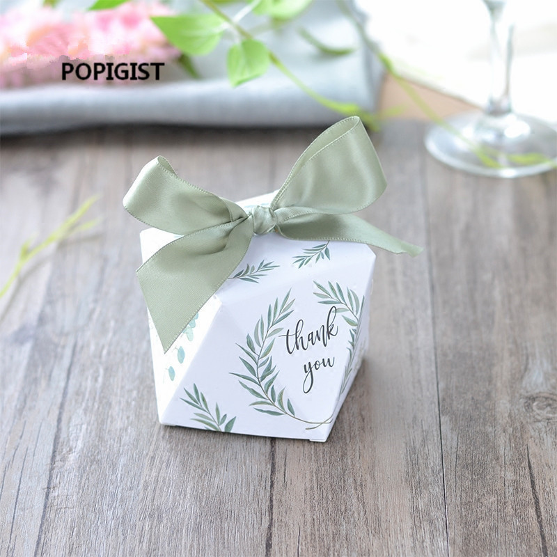 100pcs European diamond shape Green forest style Candy Boxes Wedding Favors Bomboniere paper thanks Gift Box Party Chocolate box in Gift Bags Wrapping Supplies from Home Garden