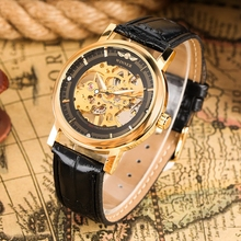 лучшая цена WINNER Skeleton Design Black Men Mechanical Watch Montre Homme Man Watches Top Brand Luxury Leather Military Golden Wrist Watch