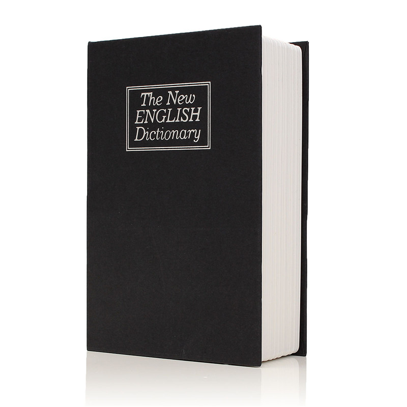 Metal + Paper Plate Dictionary Book Secret Security Safe Key Lock Cash Money Jewellery Locker Durable Quality